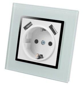 USB stopcontact glas met volle afdekking en 2 usb poorten