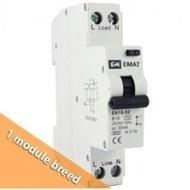 Emat aardlekautomaat 1P+N C16/30mA 1 module breed