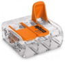 Wago lasklem met hendel transparant 3-voudig 0,14-4mm 221-413